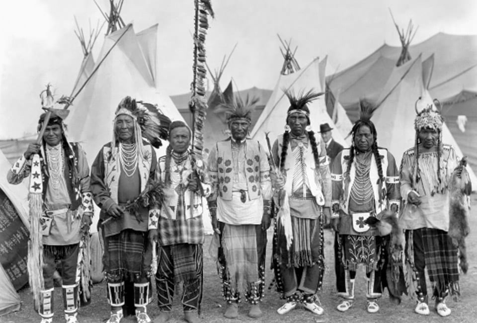 seven Tribal members in old photo